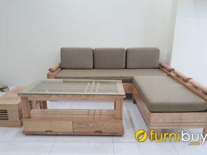 mẫu sofa góc gỗ sồi đẹp