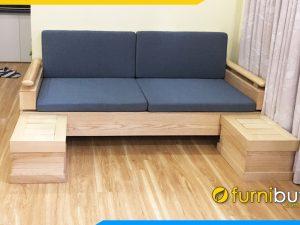 ghế sofa văng gỗ sồi đẹp kê phòng khách hiện đại