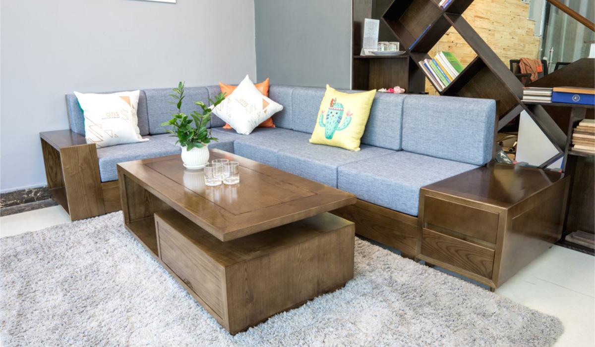 sofa gỗ đẹp cho nhà ống nhà phố